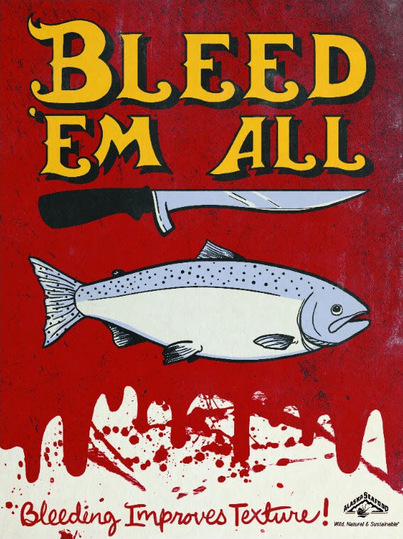 "Graphic of salmon with knife and ""Bleed 'Em All"" text"